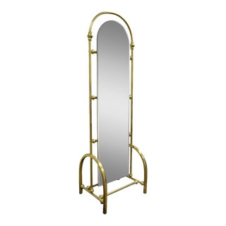"Vintage 75"" Tall Brass Glass Hollywood Regency Victorian Cheval Dressing Mirror For Sale"