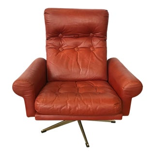 1960s Mid Century Modern Red Leather Swivel Chair For Sale