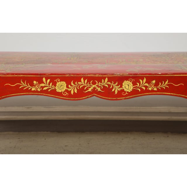Vintage Hand Painted Red Lacquered Chinoiserie Cocktail/Coffee Table For Sale - Image 4 of 11