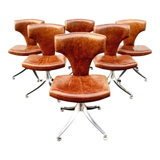 1960s Vintage Leather Dining Chairs on Pedestal- Set of 6 For Sale