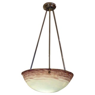1930's French Pate de Verre Glass Bowl Chandelier For Sale
