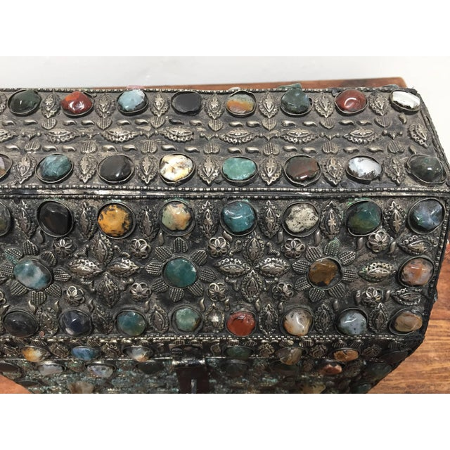 Large Moroccan Wedding Silvered Jewelry Box Inlaid With Semi-Precious Stones For Sale - Image 10 of 13