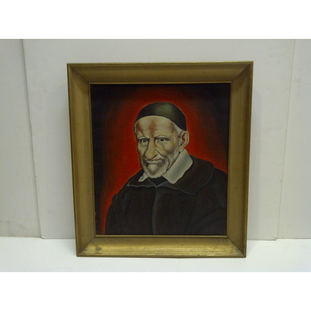 """This is an Original Painting On Canvas -- Titled """"St. Vincent De Paul"""" -- Circa 1940."""