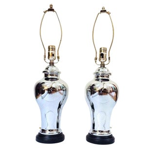 Vintage Mercury Glass Ginger Jar Lamps Mirror Finish - a Pair For Sale