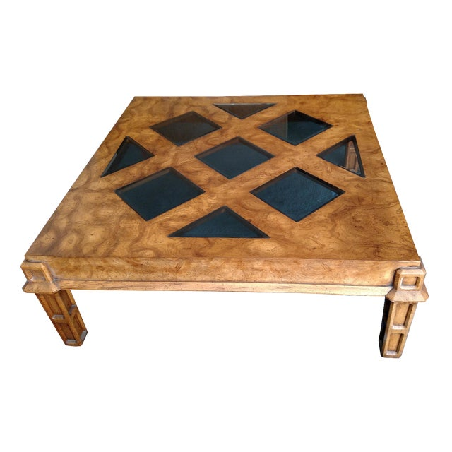Wood Coffee Table With Smoked Glass Top Insert - Image 2 of 10