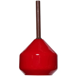 1950s Tapio Wirkkala Teak Hanging Lamp With Vistosi Modern Red Glass Shade For Sale