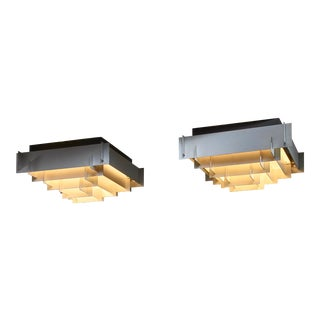 Two of Six Nordisk Solar Metal Flush Mount Lamps For Sale