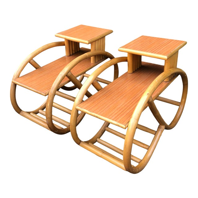 1950's Bent Rattan Bamboo Side Table Nightstands - a Pair For Sale