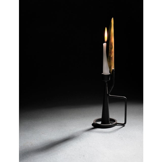 """Unique Sculpted Steel Candleholder """"Feather"""", Signed by Lukas Friedrich For Sale - Image 6 of 7"""