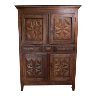 19th Century French Louis XIII Style Cherry Diamond Point Cabinet For Sale
