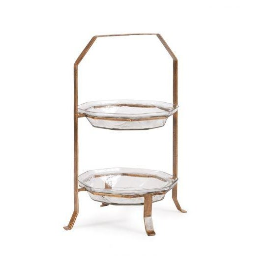 Transitional Kenneth Ludwig Chicago Ilana 2 Tier Glass Server For Sale - Image 3 of 3