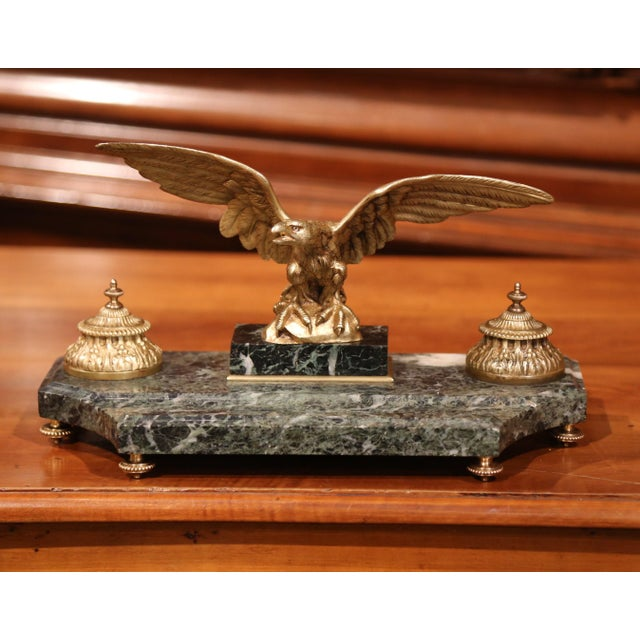 Decorate your desk or study with this large inkwell, which was crafted in France, circa 1880. Situated on a curved green...