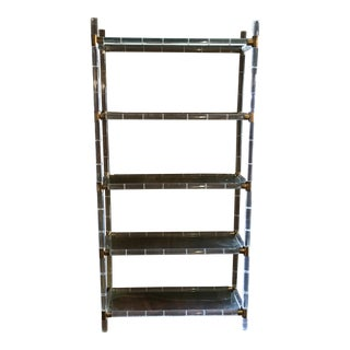 Charles Hollis Jones Acrylic & Brass Faux Bamboo Etagere For Sale