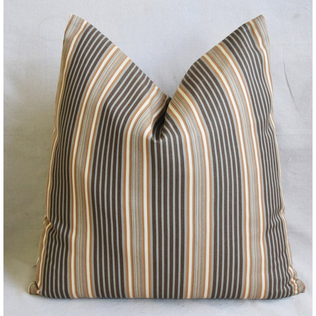 "Early 21st Century French Striped Ticking Feather/Down Pillows 24"" Square - Pair For Sale - Image 5 of 11"