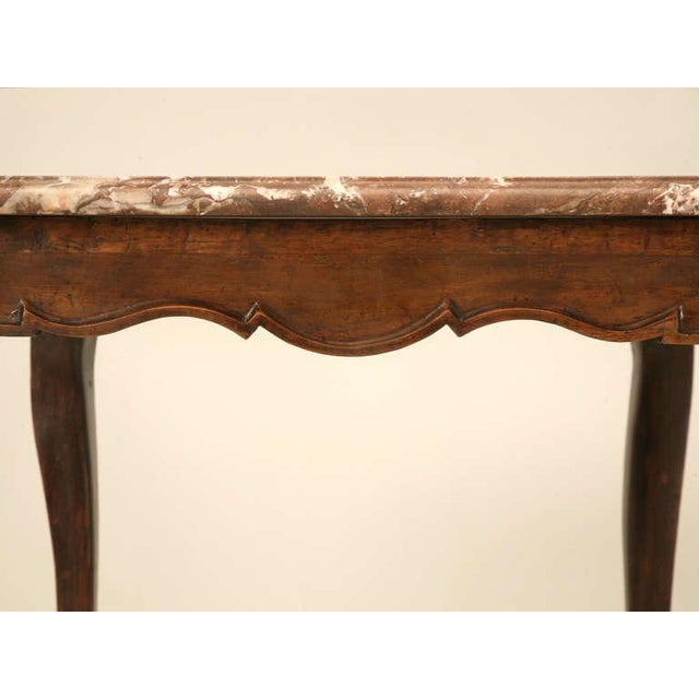Cherry Wood 18th Century Antique French Louis XV Marble Top Cherry Side Table For Sale - Image 7 of 10