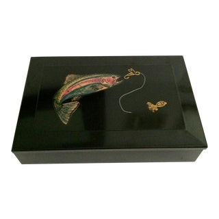 1960s Mid-Century Modern Couroc of Monterey Lidded Box With Inlay Fly Fishing Detail