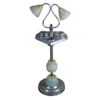 1940s Late Art Deco Slag Glass Smoking Stand Floor Lamp Side Table Ashtray Light For Sale