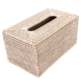 Boho Chic Artifacts Rattan Long Tissue Box For Sale