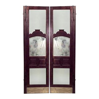 2 Pair of American Victorian oak full length saloon doors with bevelled glass center (PRICED PER PAIR)