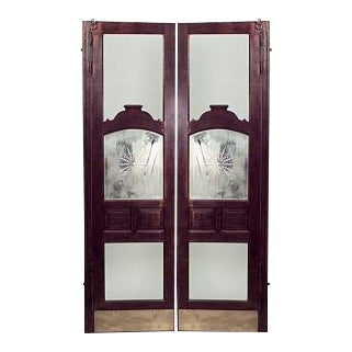 American Victorian oak full length saloon doors with bevelled glass center- A Pair For Sale