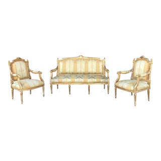 1940s Vintage Italian Gold Leave Carved Seating Set- 3 Pieces For Sale