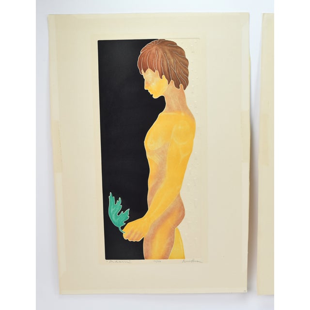 Wonderful set of two Vintage Modern lithographs depicting Adam and Eve. Printed with an embossed technique on Arches...