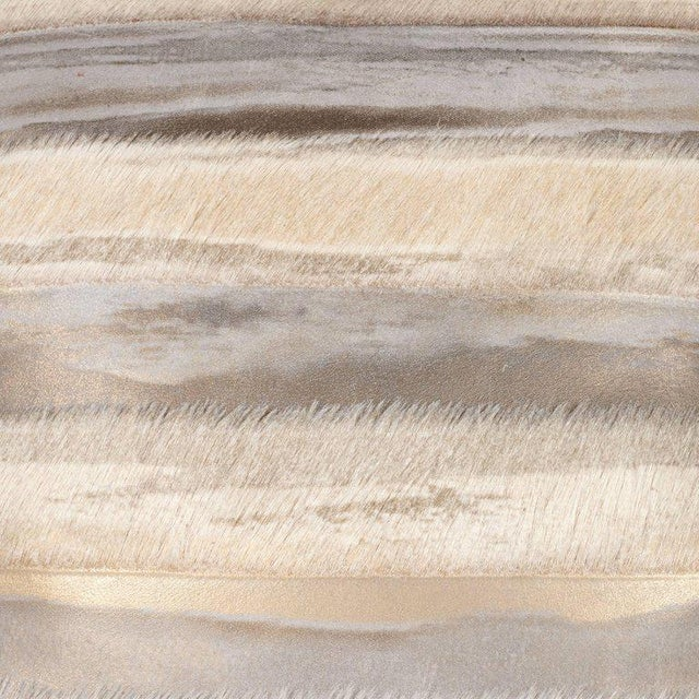 Early 21st Century Pair of Custom Modernist Horsehide and Ultra Suede Banded Pillows in Metallic Tones For Sale - Image 5 of 10