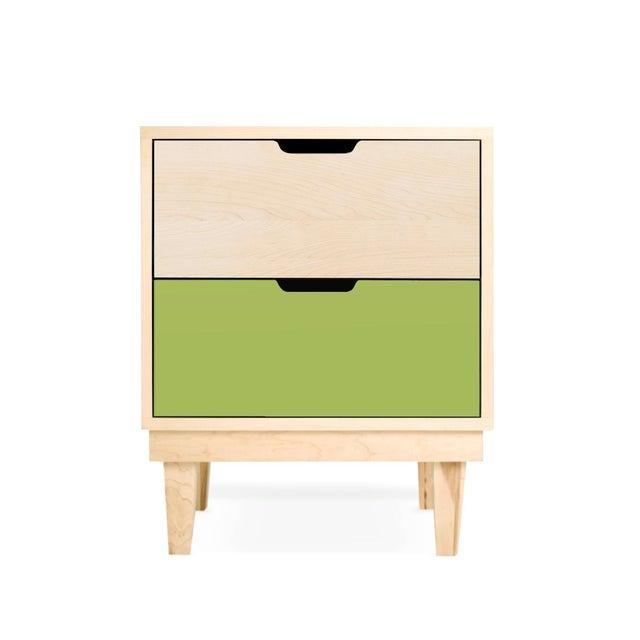 Nico & Yeye Nico & Yeye Kabano Modern Kids 2-Drawer Nightstand Solid Maple and Maple Veneers Green For Sale - Image 4 of 4