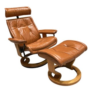 Ekornes Stressless Leather Recliner and Footstool - a Pair For Sale