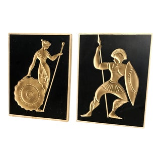 Vintage American Art Industries Mid Century Romanesque Wall Art Plaques - a Pair For Sale