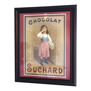 Vintage French Chocolate Advertisement Custom Framed and Matted Print With Sturdy Hanging Wire For Sale