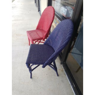 Red & Blue Wicker Chairs - A Pair Preview