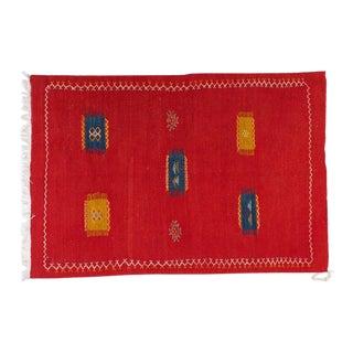 Medium Berber Rug - Tribal Handwoven Wool Organic Red Dye For Sale