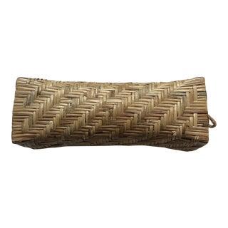 Vintage Asian Rattan Woven Spa Neck Pillow For Sale