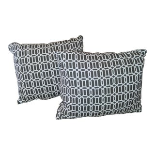 White & Charcoal Geometric Pillows - A Pair For Sale