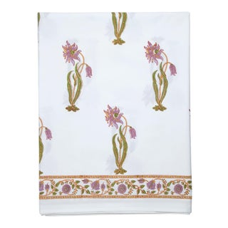 Florence Flat Sheet, Queen Sheet - Lilac & Green For Sale
