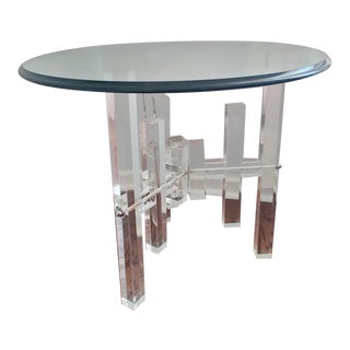 1970's Modern Circular Glass Coffee Table With Lucite Base For Sale