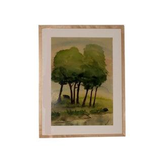 "1952 Vintage ""A Quiet Place"" Luann Signed Watercolor Painting For Sale"