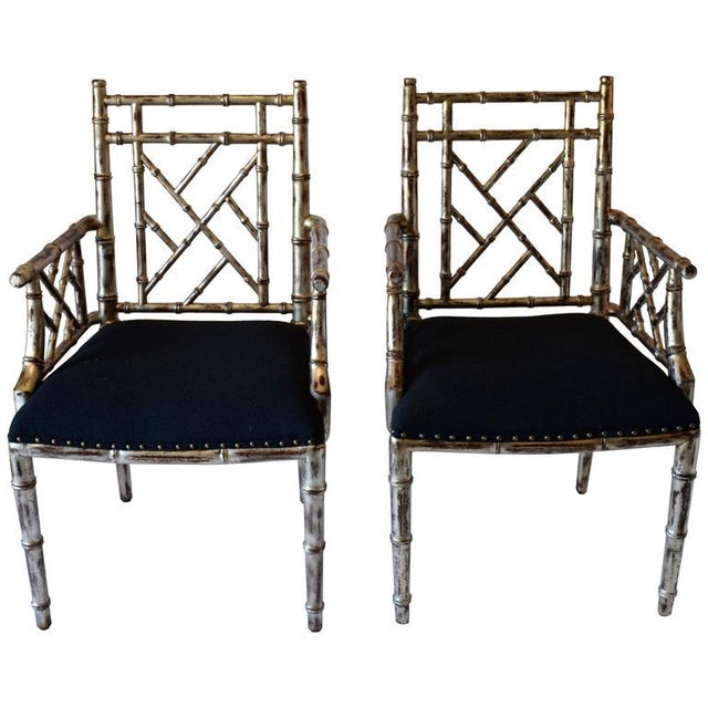 Black 1990s Vintage Bamboo Armchairs - A Pair For Sale - Image 8 of 8