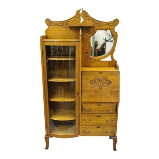 1900s Victorian Golden Oak Secretary Desk Bookcase For Sale