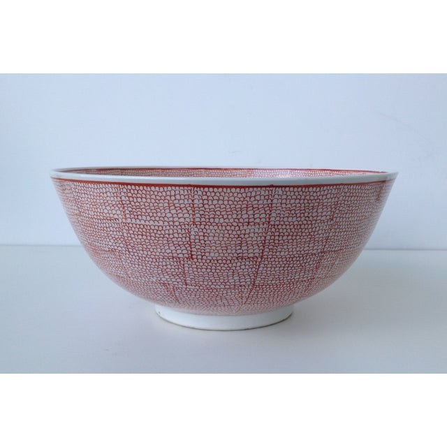 Vintage (circa 1950s–60's) A Nora Fenton large Asian, white porcelain bowl that is hand decorated. It is red with a...