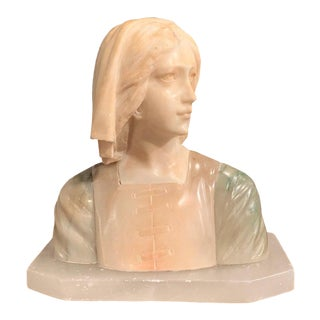 Early 20th Century French Two-Tone Marble Bust Sculpture of Young Beauty For Sale