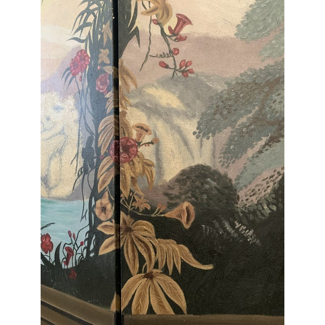 Vintage Maitland Smith Hand Painted 4 Panel Folding Screen For Sale In Nashville - Image 6 of 13