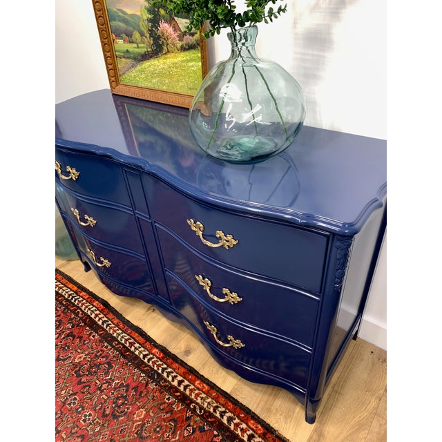 Boho Chic 1950's French Provincial Navy Blue High Gloss Dresser For Sale - Image 3 of 6