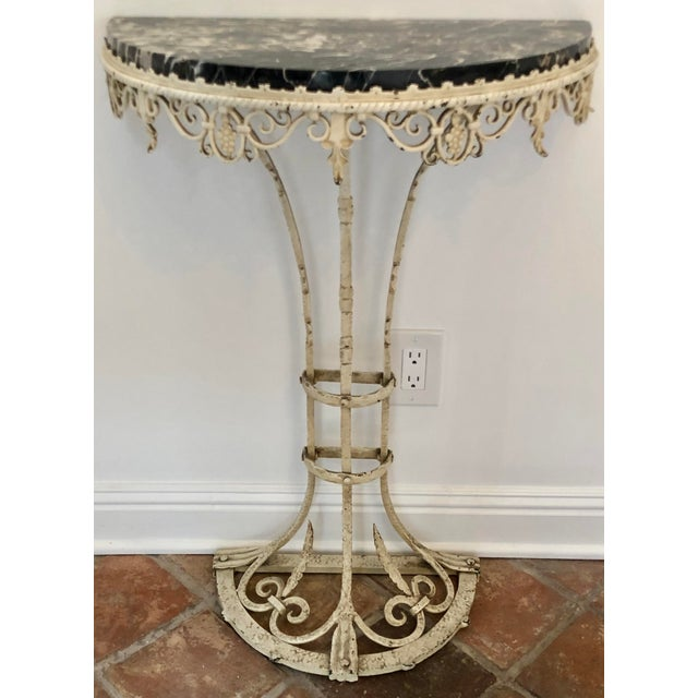 Early 20th Century Antique Art Deco Painted Wrought Iron Marble Top Demilune Console Table For Sale - Image 5 of 6