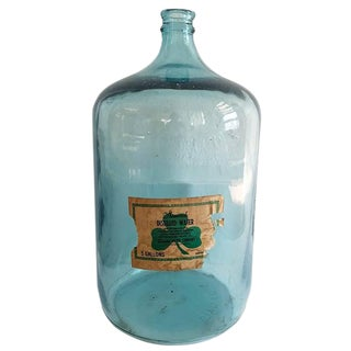 20th Century French Modern Blue Glass Demi-John Water Bottle For Sale