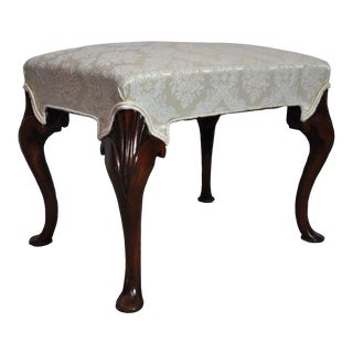 Vintage Mahogany Queen Anne Style Pad Foot Ottoman Foot Stool Bench Chair Seat For Sale