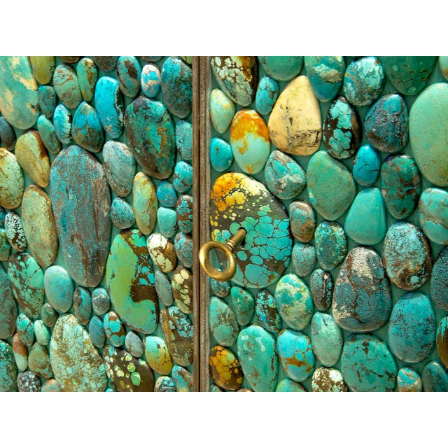 Metal Kam Tin - Sideboard Covered With Real Turquoise Cabochons, France, 2013 For Sale - Image 7 of 10