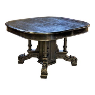19th Century Ebonized Black Napoleon III Dining Table with Four Table Leaves