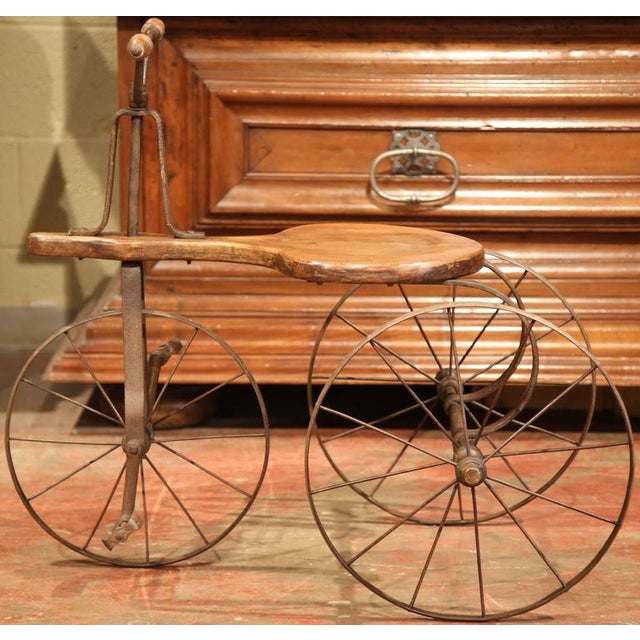 19th Century French Iron and Wood Tricycle in Wonderful Working Condition For Sale In Dallas - Image 6 of 8